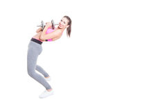 Woman working out bending over back holding dumbbell. Isolated on white background with copy text space Stock Photo