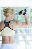Woman working out. With dumbbell Royalty Free Stock Photography