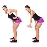 Woman working out with dumbbells Stock Photos
