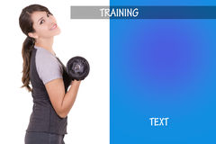 Woman working out with dumbell, ad design. Woman working out with dumbell, with ad design Stock Images