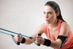 Woman Working Out With Elastic Bands Stock Photography