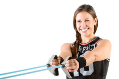 Woman Working Out With Elastic Bands Royalty Free Stock Photography