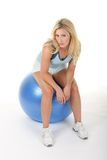Woman Working Out With Exercise Ball Stock Photos