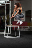 Woman Working Out With Fit Box At Gym Stock Photography