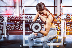 Woman working out in gym Stock Photos