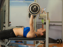 Woman working out in the gym. Beautiful woman working out in the gym Royalty Free Stock Photo