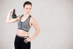 Woman Working Out With a Kettlebell Royalty Free Stock Photos