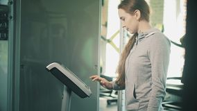 Woman working out lifting weights 4k. Woman working out lifting weights stock footage