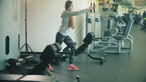 Woman working out lifting weights 4k. Woman working out lifting weights stock video