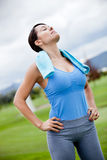 Woman working out outdoors Stock Photos