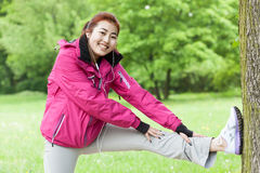 Woman working out outdoors Royalty Free Stock Images