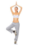 Woman working out yoga exercise Royalty Free Stock Image