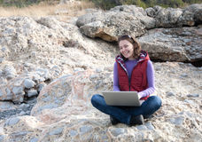 Woman working outdoor Stock Images