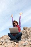 Woman working outdoor Stock Image