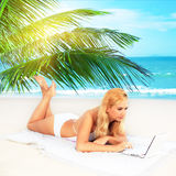 Woman working outdoor Royalty Free Stock Photo
