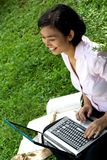 Woman working in outdoor office stock photos