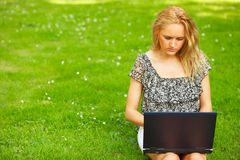 Woman working outdoors Royalty Free Stock Photography