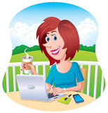 Woman Working Outdoors On Her Laptop Royalty Free Stock Images