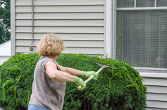 Woman Working Outdoors Stock Photo