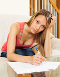 Woman working with papers Stock Images