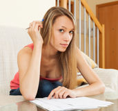 Woman working with papers Stock Photos