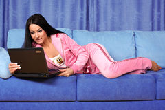 Woman working with PC Royalty Free Stock Image