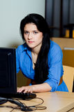 Woman is working on pc Royalty Free Stock Photos