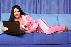 Woman working with PC at home Stock Photography