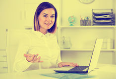 Woman working productively Stock Image