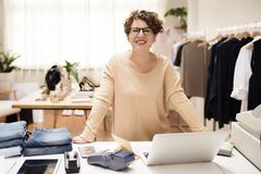 Woman working on projects. Fashion design Royalty Free Stock Images