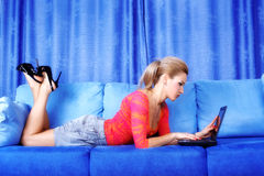 Woman working with PS at home Royalty Free Stock Photo