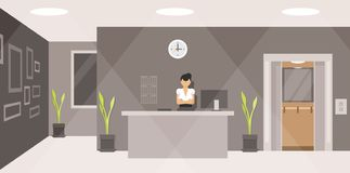 Woman working at the reception desk royalty free stock images