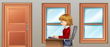 Woman working in room. Illustration Stock Photos