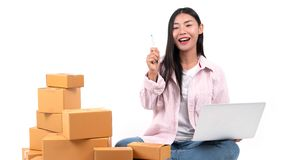 .woman working sell online royalty free stock images
