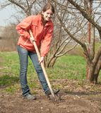 Woman working with shovel Stock Photography