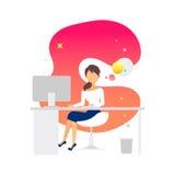 Woman working. vector illustration