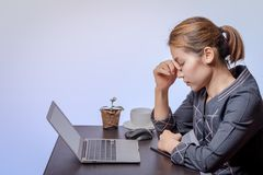 Woman working with stress mood stock photos