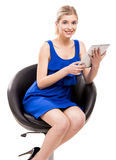 Woman working with a tablet Royalty Free Stock Photography