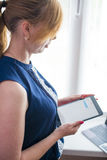woman working with the tablet Stock Photo