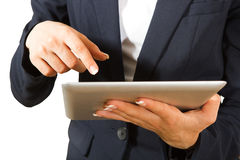 Woman working on Tablet PC Stock Image