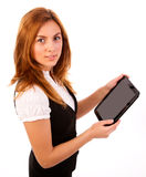 Woman working at tablet pc Stock Images