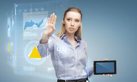 Woman working with tablet pc Royalty Free Stock Photos