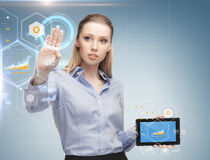 Woman working with tablet pc Stock Photo