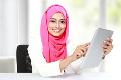Woman working with tablet Stock Photo