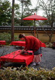 A woman working at the tea garden in Kyoto, Japan Royalty Free Stock Image