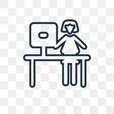 Woman Working vector icon isolated on transparent background, li vector illustration