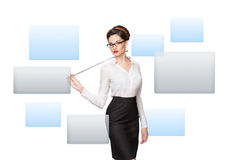 Woman working with virtual screen Royalty Free Stock Image