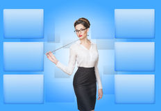 Woman working with virtual screen Stock Images