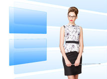 Woman working with virtual screen Royalty Free Stock Photography