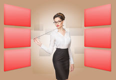 Woman working with virtual screen Royalty Free Stock Photos